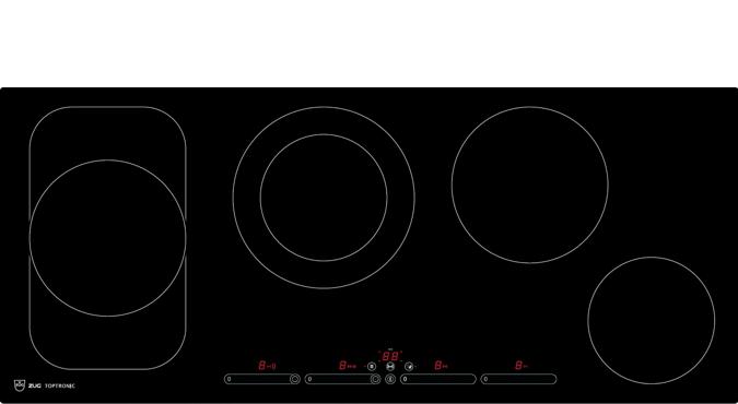 v zug glaskeramikkochfeld toptronic gk45tepsf spez fl chenb ndig panorama blackdesign. Black Bedroom Furniture Sets. Home Design Ideas